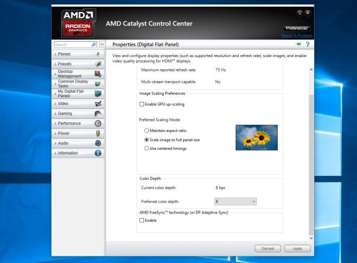 Enabling AMD FreeSync in the Catalyst driver.